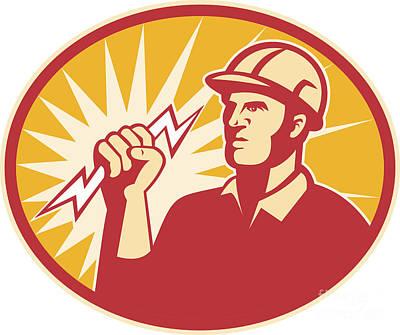 Electrician Power Line Worker Lightning Bolt Art Print by Aloysius Patrimonio