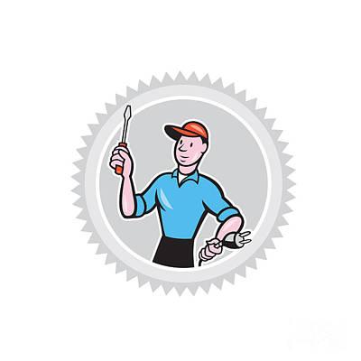 Electrician Screwdriver Plug Rosette Cartoon Art Print