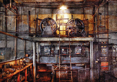 Antique Photograph - Electrician - Turbine Station by Mike Savad