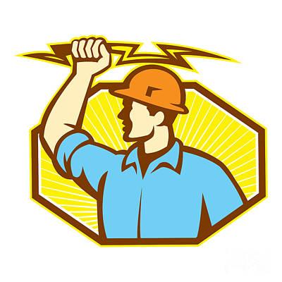 Electrician Wielding Lightning Bolt Print by Aloysius Patrimonio