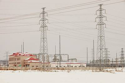 Electricity Pylons Art Print