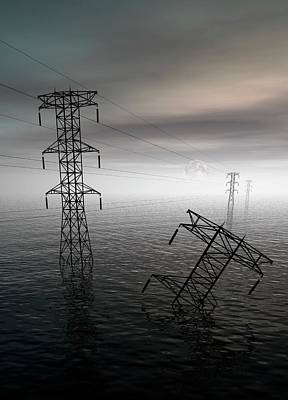 Electricity Pylons In Water Art Print
