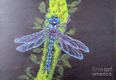 Art Print featuring the painting Electrified Blue Dragonfly by Kimberlee Baxter