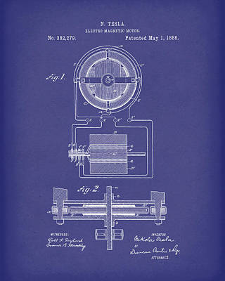 Drawing - Electro Magnetic Motor Tesla 1888 Patent Art Blue by Prior Art Design