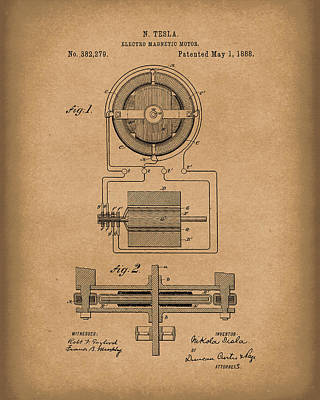 Drawing - Electro Magnetic Motor Tesla 1888 Patent Art Brown by Prior Art Design
