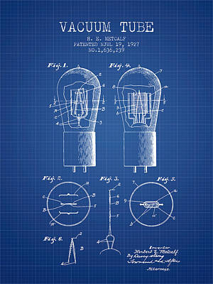 Electrode Vacuum Tube Patent From 1927 - Blueprint Art Print by Aged Pixel
