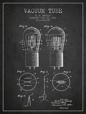 Electrode Vacuum Tube Patent From 1927 - Charcoal Art Print by Aged Pixel
