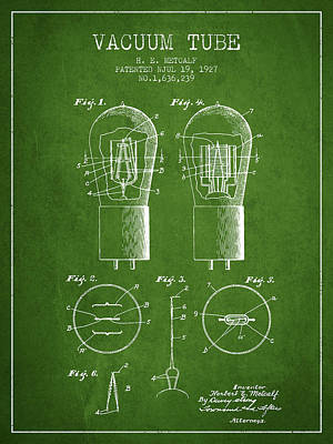 Electric Current Drawing - Electrode Vacuum Tube Patent From 1927 - Green by Aged Pixel