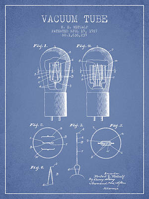 Electrode Vacuum Tube Patent From 1927 - Light Blue Art Print by Aged Pixel