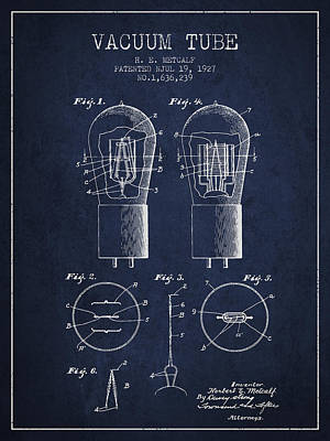 Electric Current Drawing - Electrode Vacuum Tube Patent From 1927 - Navy Blue by Aged Pixel