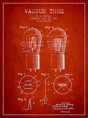 Electric Current Drawing - Electrode Vacuum Tube Patent From 1927 - Red by Aged Pixel