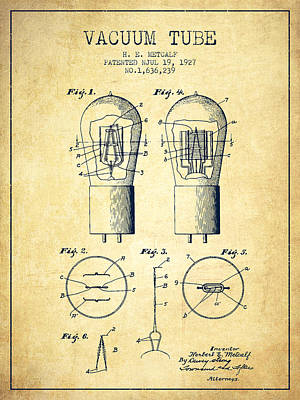 Electric Current Drawing - Electrode Vacuum Tube Patent From 1927 - Vintage by Aged Pixel