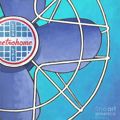 Painting - Electrohome Fan - Aqua by Larry Hunter