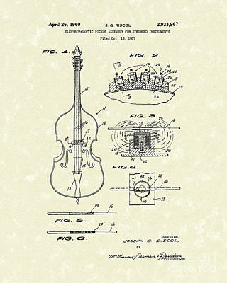 1960 Drawing - Electromagnetic Pickup 1960 Patent Art by Prior Art Design