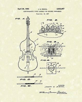 Electromagnetic Pickup 1960 Patent Art Print by Prior Art Design