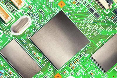 Circuit Photograph - Electronic Printed Circuit Board by Wladimir Bulgar