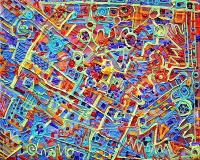 Paint Extrusion Painting - Electronics For Cats by Regina Valluzzi