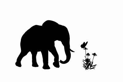 Elefant Digital Art - Elefant And Butterfly by Ludek Sagi Lukac