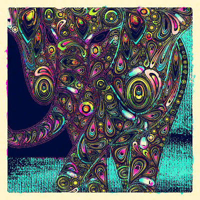 Vibrant Color Digital Art - Elefantos - Ptjs01a by Variance Collections