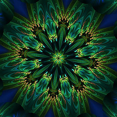 Elegance Green Kaleidoscope Art Print
