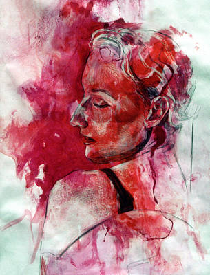 Lady In Red Painting - Elegance by Rene Capone