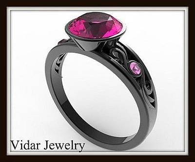 Jewelry - Elegant And Unique Pink Sapphire 14k Black Gold Engagement Ring by Roi Avidar