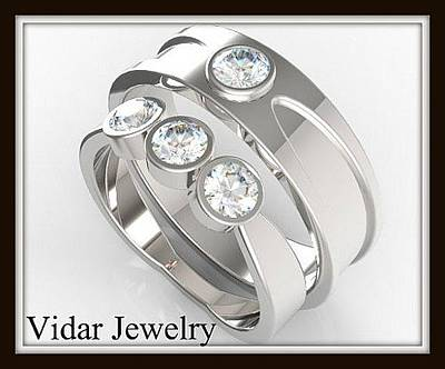 14k Jewelry - Elegant His And Hers Matching Diamond 14kt White Gold Wedding Band Set by Roi Avidar