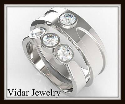 Elegant His And Hers Matching Diamond 14kt White Gold Wedding Band Set Original by Roi Avidar
