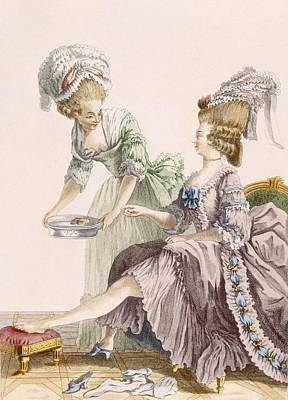 Ribbon Drawing - Elegant Lady Having Her Feet Washed by Pierre Thomas Le Clerc