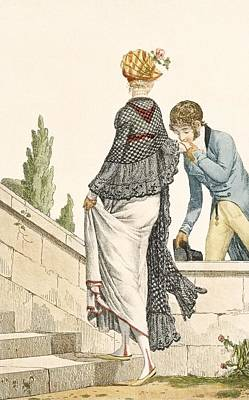 Lace Drawing - Elegant Ladys Walking Dress With Check by Philibert Louis Debucourt