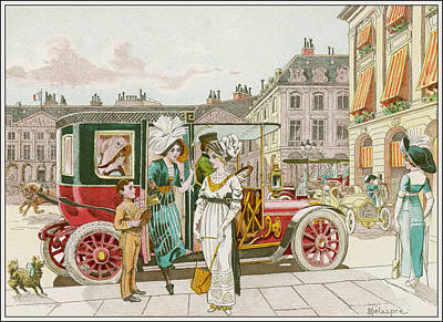 Street Car Drawing - Elegant Parisiennes Use by Mary Evans Picture Library