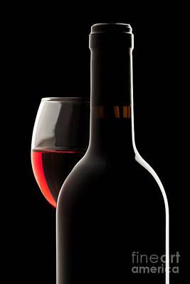 Wine Glass Photograph - Elegant Red Wine Bottle And Wine Glass by Jose Elias - Sofia Pereira