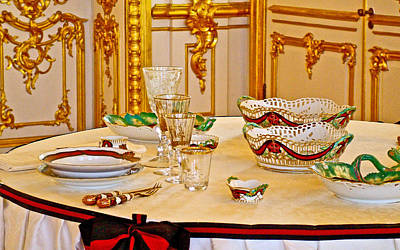 Catherine Palace In Russia Photograph - Elegant Table Service In Catherine's Palace In Pushkin-russia by Ruth Hager