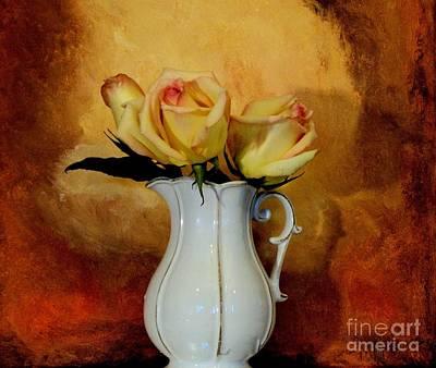 Burnt Digital Art - Elegant Triple Roses by Marsha Heiken