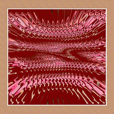 Digitalart Mixed Media - Elegant Unique Pink Purple Wave Spectrum Gold Border by Navin Joshi