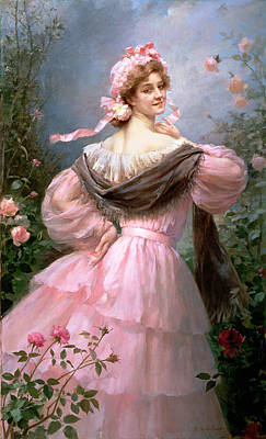 Shawl Painting - Elegant Woman In A Rose Garden by Felix Hippolyte-Lucas