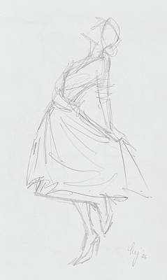 Drawing - Elegant Woman In Dress Drawing by Mike Jory