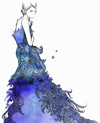 Digital Art - Elegant Woman Wearing Flowing Blue by Jessica Durrant
