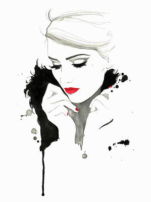 Digital Art - Elegant Woman Wearing Red Lipstick And by Jessica Durrant