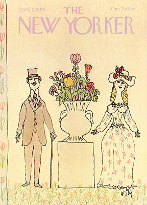 Elegantly Dressed Man And Woman Standing Next Art Print by William Steig