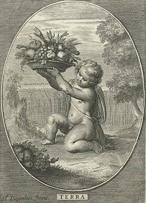 Cornfield Drawing - Element Earth As A Child With Bowl Of Fruit And Vegetables by Cornelis Van Dalen Ii And Nicolaes Visscher I