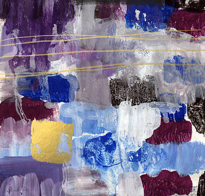 Modern Abstract Mixed Media - Elemental- Abstract Expressionist Painting by Linda Woods