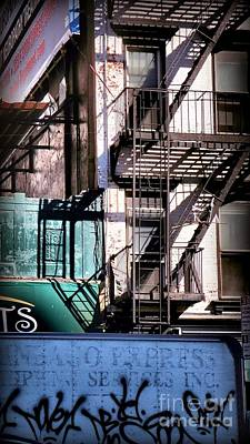 Elemental City - Fire Escape Graffiti Brownstone Art Print by Miriam Danar