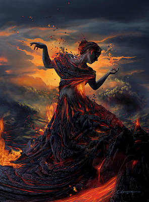 Girl Digital Art - Elements - Fire by Cassiopeia Art