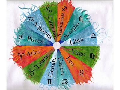 Cycles Painting - Elements With Zodiac Signs by Christa Chandler