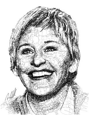Personalities Drawing - Ellen Degeneres by Michael Volpicelli