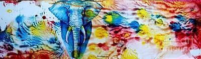 Colourfull Painting - Elepant Abstract by Anastasis  Anastasi
