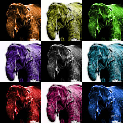 Rateitart Digital Art - Elephant 3374 - Mosaic - V1 by James Ahn