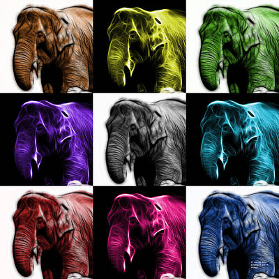 Digital Art - Elephant 3374 - Mosaic - V2 by James Ahn