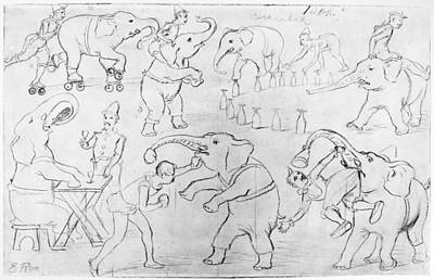 Carousel Collection Drawing - Elephant Acts, 1880s by Granger